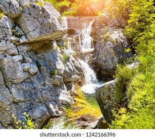The Waterfall in mountain. Mount Olympus, Greece