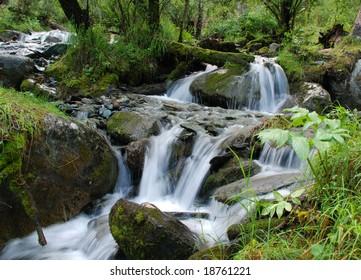 Waterfall, mountain river, Altai, Russia