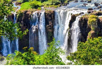 Waterfall mountain scene