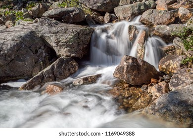 waterfall in the mountains, Khamar-Daban, mountain river
