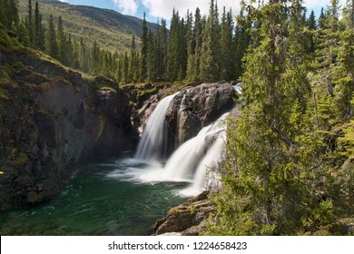 Waterfall in the mountains near Hemsedal, Norway