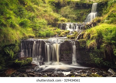 Waterfall in a national park Breckon Beacons in Wales.
