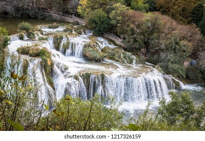Waterfall in the national park of Croatia near the city of Skradin