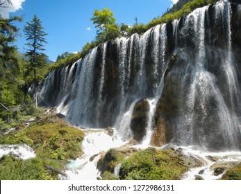 Waterfall in the national park of Jiuzhaigou, Sichuan, China
