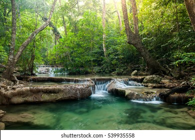 Waterfall in  national park jungle of Thailand