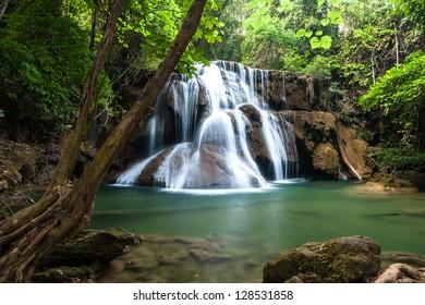Waterfall in National Park , Kanchanaburi Province , Thailand