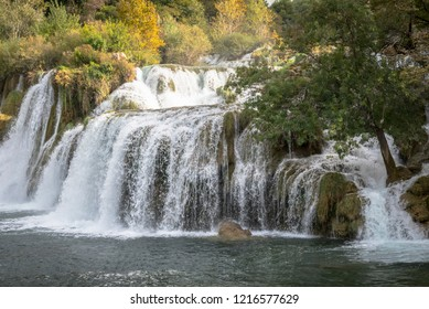 Waterfall in the national park near the town of Skradin, Croatia