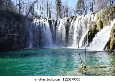 Waterfall in national park Plitvice