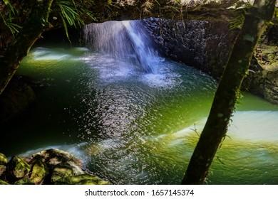 Waterfall at Natural Arch Bridge in the Springbrook National Park Gold Coast Australia