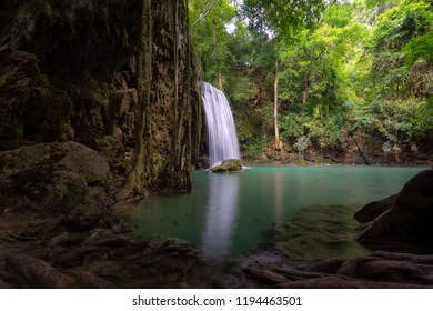 Waterfall in the natural deep forest in Thailand
