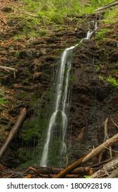Waterfall near Kouty nad Desnou village in summer day in forest - Shutterstock ID 1800928198
