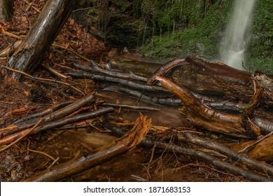 Waterfall near Kouty nad Desnou village in summer day in forest - Shutterstock ID 1871683153