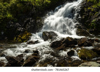 Waterfall near lake Uymen, Altay, Siberia, Russia, Autumn
