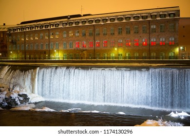 Waterfall in Norrkoping in christmas lights