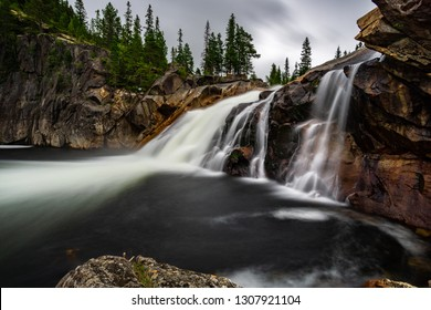 waterfall norway outdoor water tree clouds ling exposure