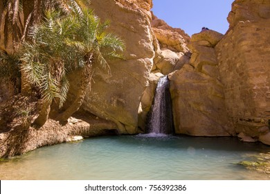 Waterfall in the oasis de Chebika, Tunisia.
