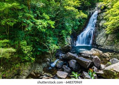 waterfall. Okinawa, Japan, Asia.