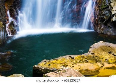 A waterfall. Okinawa, Japan, Asia.