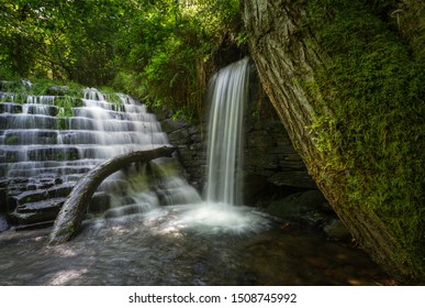 Waterfall in the old blacksmith's mill in Bogo, in A Pontenova, Galicia