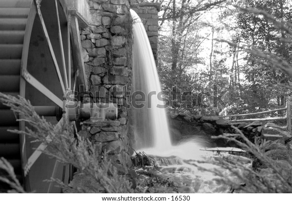 Waterfall at a old grist mill in new england
