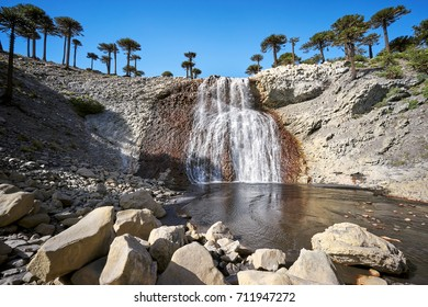 Waterfall on Agrio river, Patagonia, Neuqen, Argentina. Land of dinosaurs. Provincial Park of Copahue.