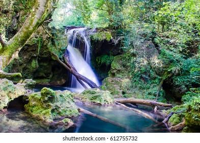 Waterfall on an amazing mountain landscape