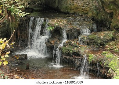 Waterfall on the Anghidi River in Tintern, Monmouthshire South Wales