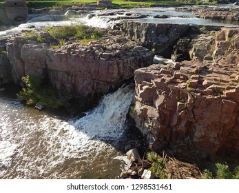 Waterfall on the Big Sioux River at Falls Park in Sioux Falls, South Dakota