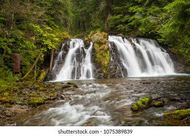 A waterfall on the gold creek near Juneau, Alaska.