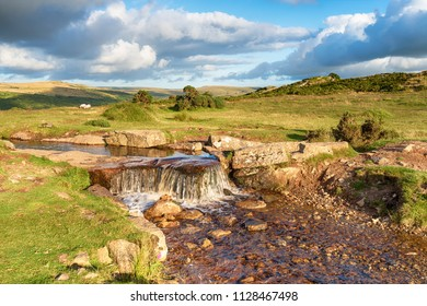 A waterfall on the Grimstone and Sortridge Leat at Windy Post on Dartmoor National Park near Tavistock