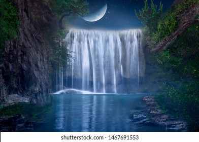 The waterfall on the half moon night with beautiful nature