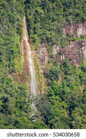 Waterfall on a Kamarang valley's wall, in Guyana, south America