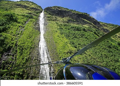 Waterfall on the Kohala Coast of the Big Island of Hawaii (and the helicopter that landed right in front of it)