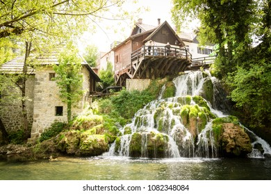Waterfall on Korana river in village of Rastoke. Near Slunj in Croatia.