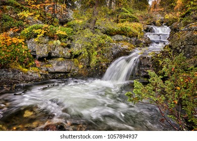 Waterfall on the Kungsleden Hiking Trail in Sweden in autumn