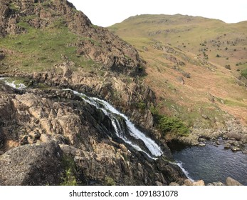 Waterfall on mountain, Easdale Tarn hike, Grasmere, Lake DIstrict, England