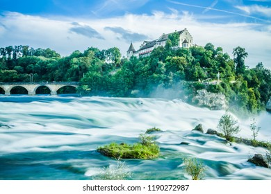 Waterfall on the Rhine Falls and at the top of the castle landscape