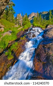 Waterfall On the trail towards the Black Lake in Rocky Mountains National Park