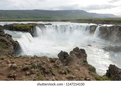 The Goðafoss waterfall, one of the most spectacular waterfalls in Iceland