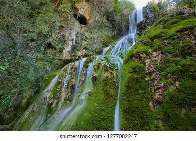 Waterfall in Orbaneja del Castillo, Burgos province, Spain