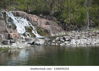Waterfall over rock cut