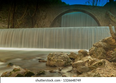 Waterfall of Palaiokaria during blue hour at Trikala in Greece.