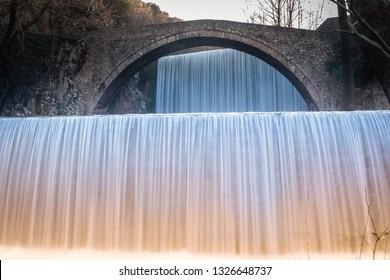 Waterfall of Palaiokaria in Greece. Long exposure photography.