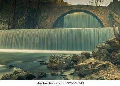 Waterfall of Palaiokaria at Trikala in Greece. Long exposure.