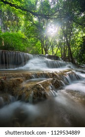 Waterfall panorama in the deep forest in Thailand