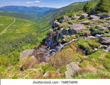 waterfall Pantschefall in the Giant Mountains, Czechia