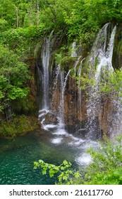 Waterfall in the Plitvice Lakes in Croatia