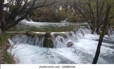 Waterfall in Plitvice Lakes (Croatia)