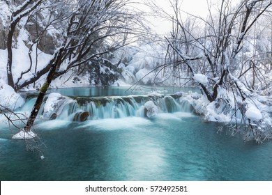Waterfall at plitvice lakes during winter, Croatia, Europe