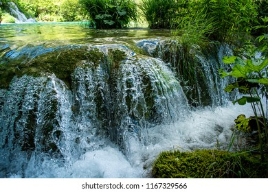 Waterfall at the Plitvice Lakes National Park (Croatia)